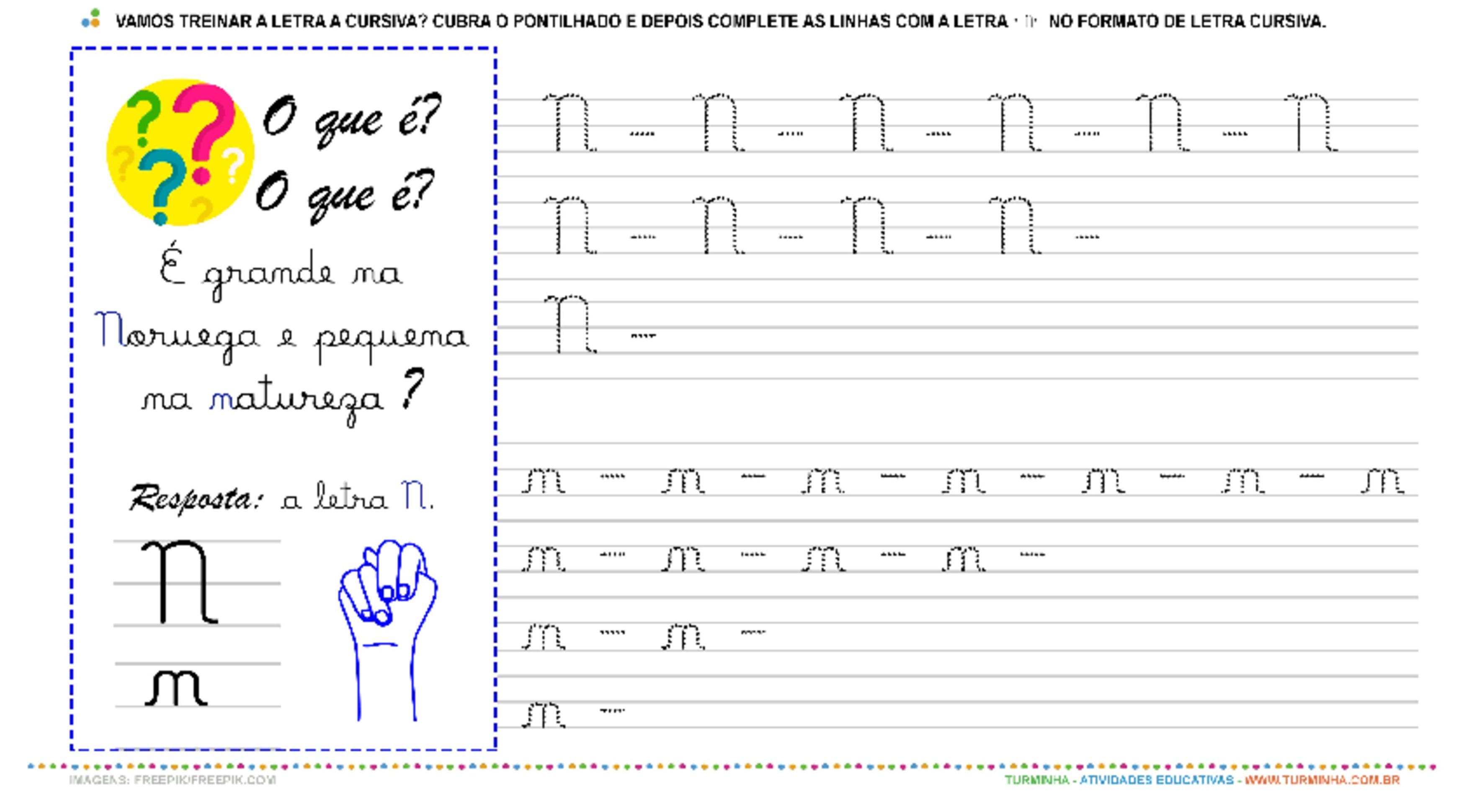 """A Letra """"N"""" Cursiva - Caligrafia - atividade educativa para Pré-Escola (4 e 5 anos)"""