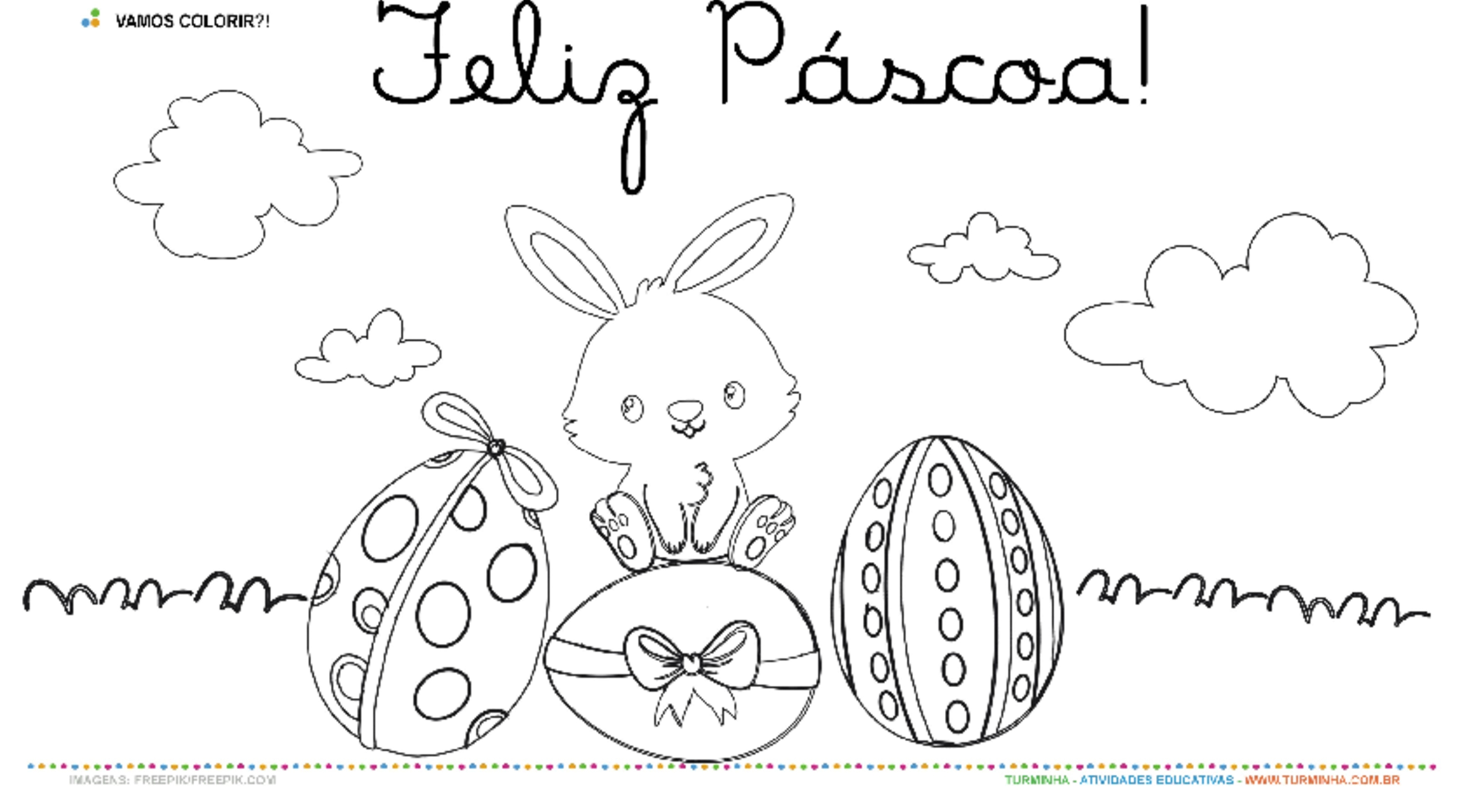 Cartão de Páscoa - Pintura  - atividade educativa para Pré-Escola (4 e 5 anos)