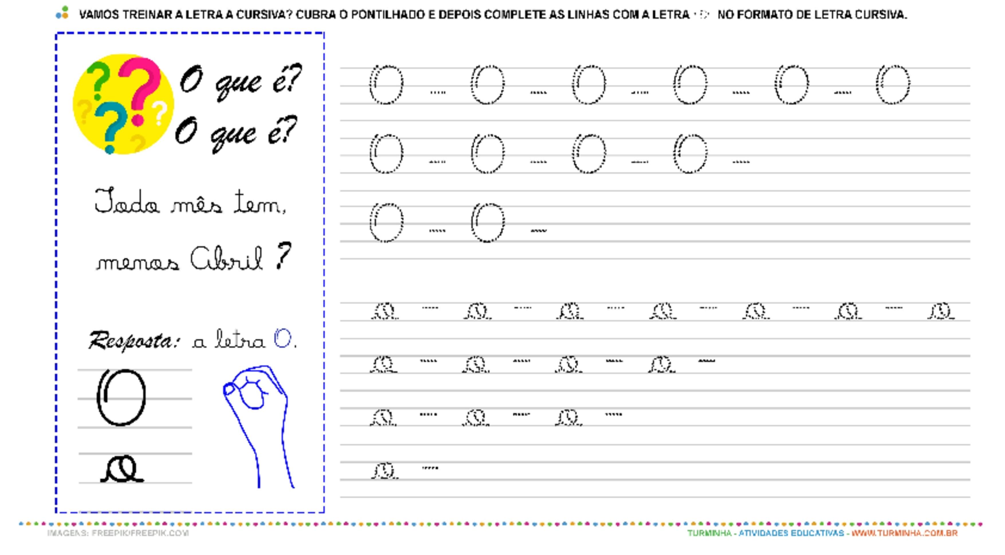 """A Letra """"O"""" Cursiva - Caligrafia - atividade educativa para Pré-Escola (4 e 5 anos)"""