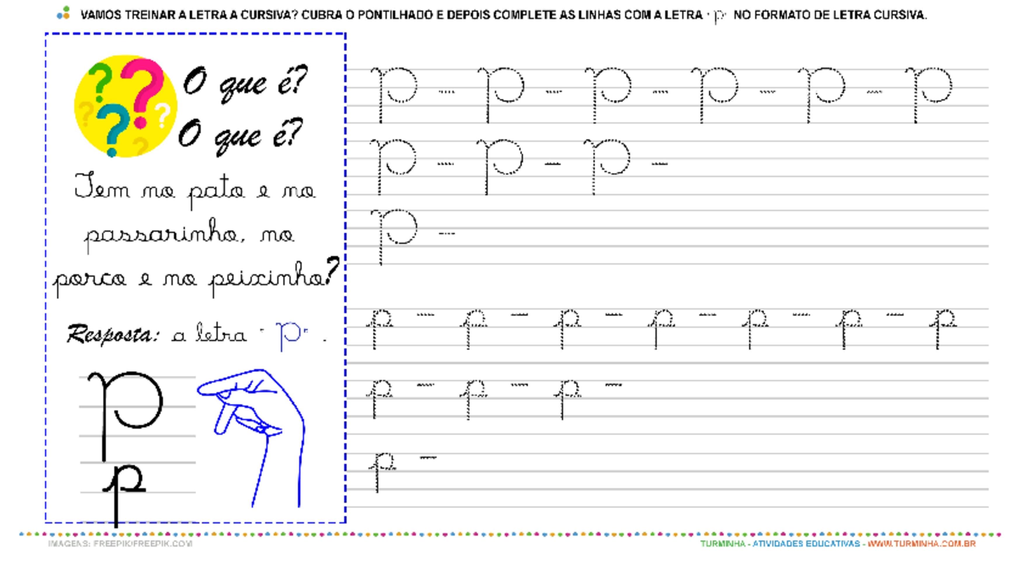 """A Letra """"P"""" Cursiva - Caligrafia - atividade educativa para Pré-Escola (4 e 5 anos)"""