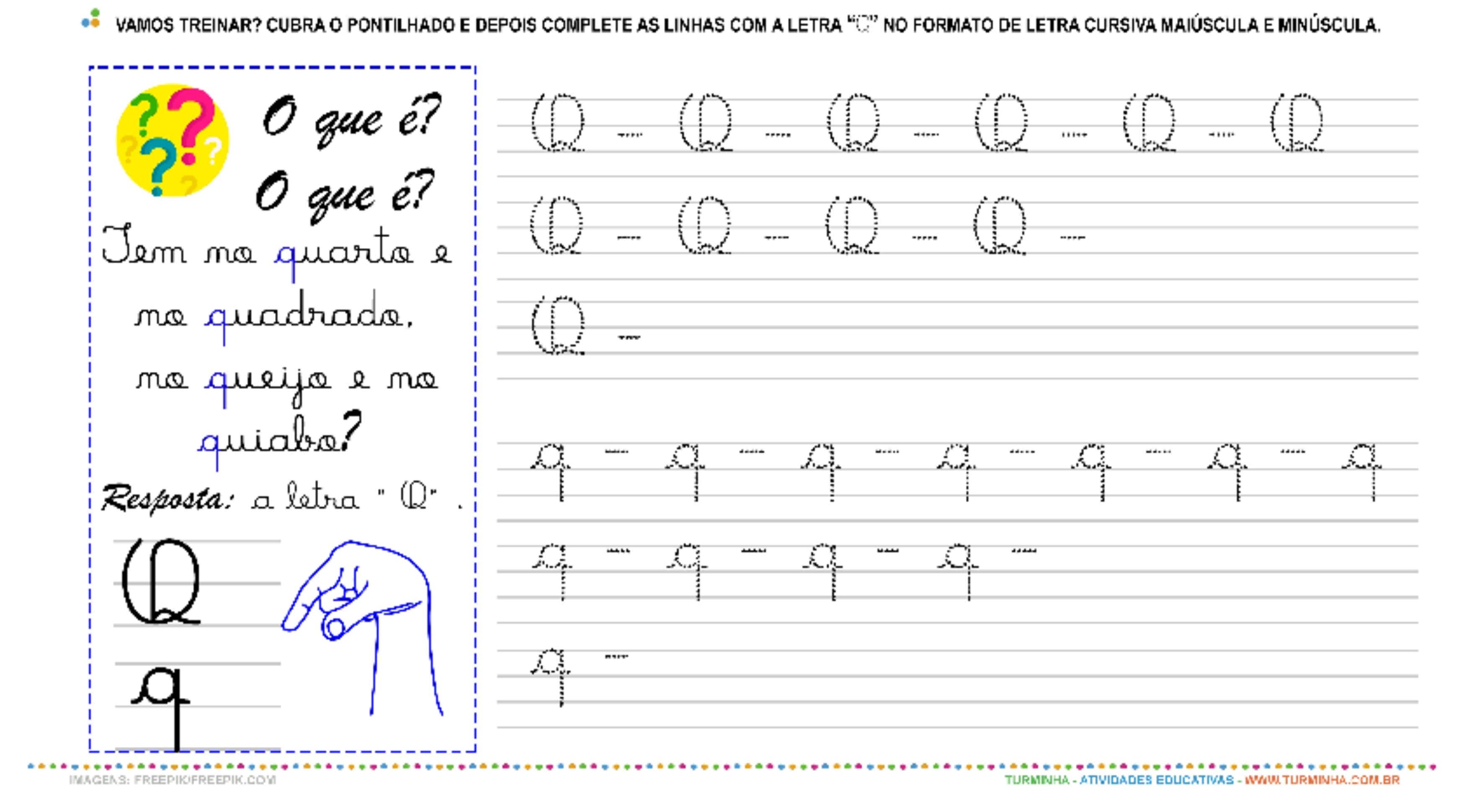 """A Letra """"Q"""" Cursiva - Caligrafia - atividade educativa para Pré-Escola (4 e 5 anos)"""