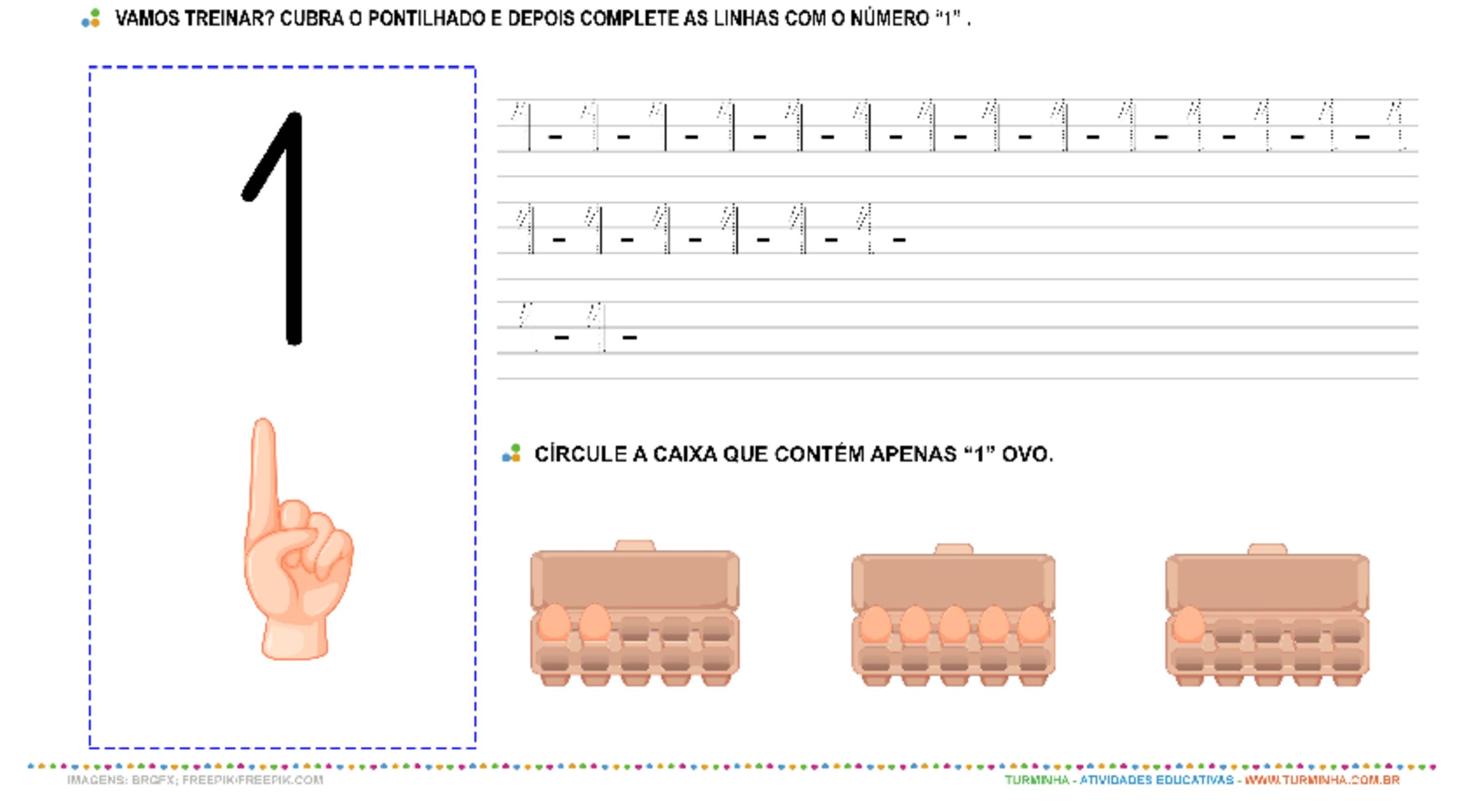 """O Número """"1"""" - Caligrafia - atividade educativa para Pré-Escola (4 e 5 anos)"""
