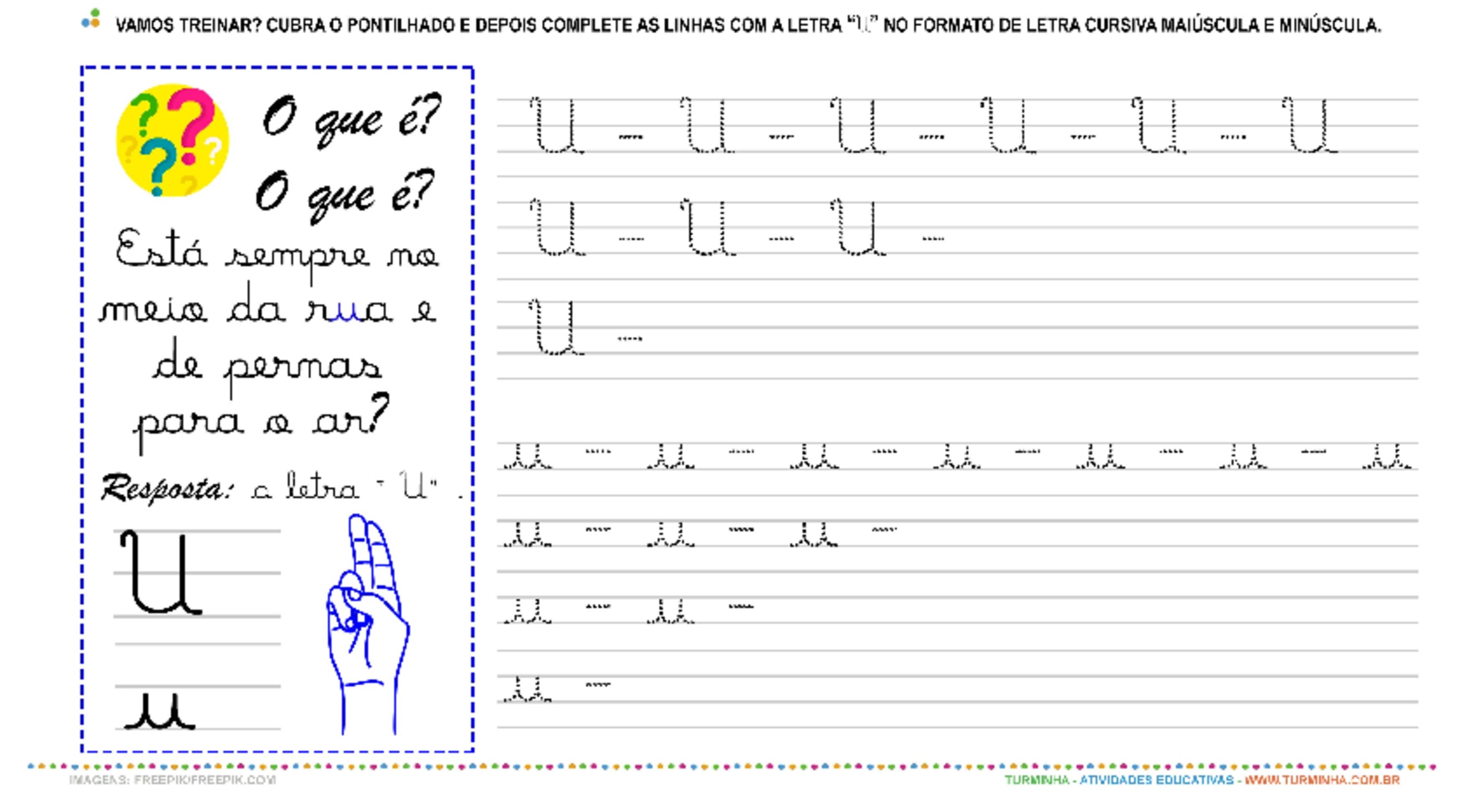 """A Letra """"U"""" Cursiva - Caligrafia - atividade educativa para Pré-Escola (4 e 5 anos)"""