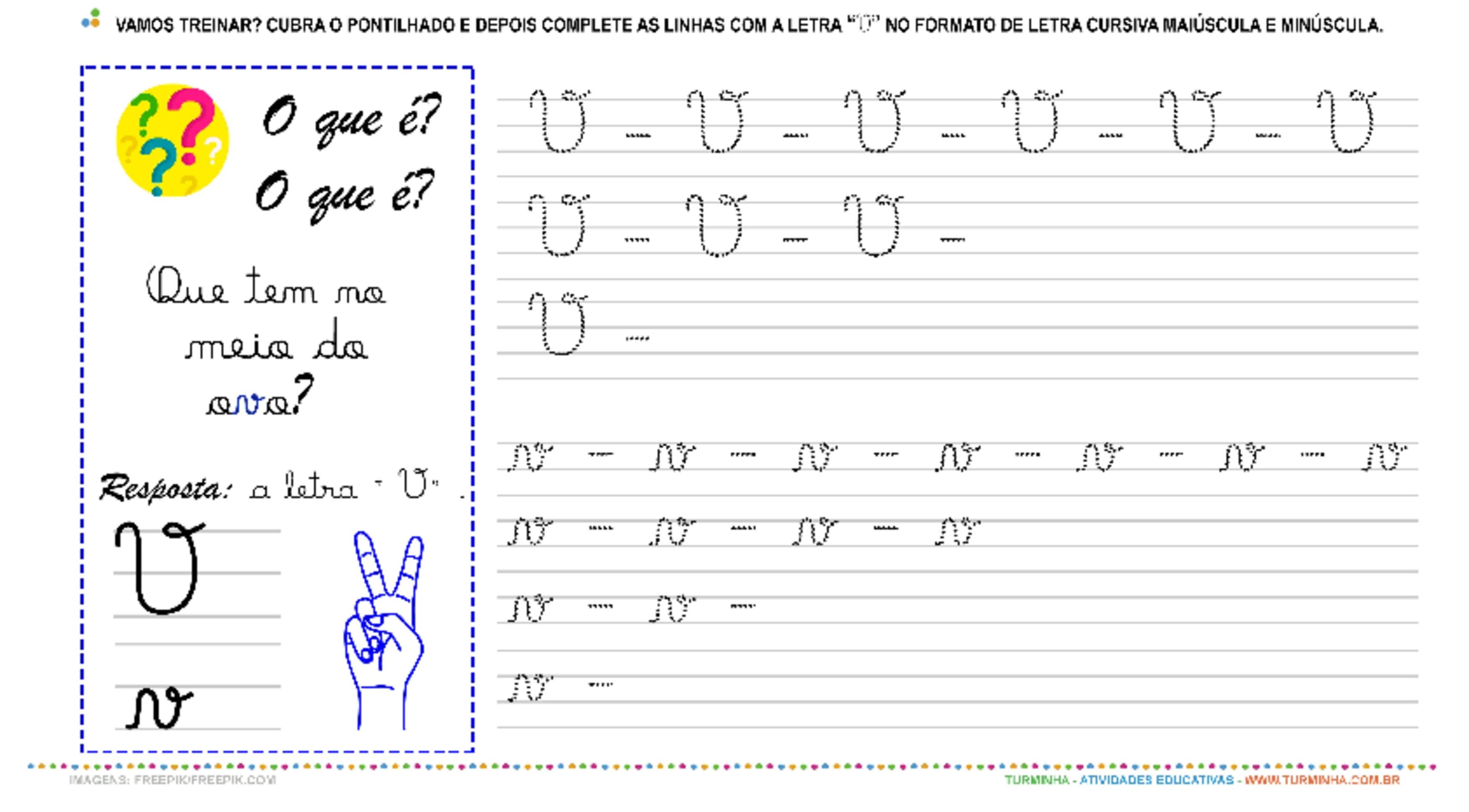"""A Letra """"V"""" Cursiva - Caligrafia - atividade educativa para Pré-Escola (4 e 5 anos)"""