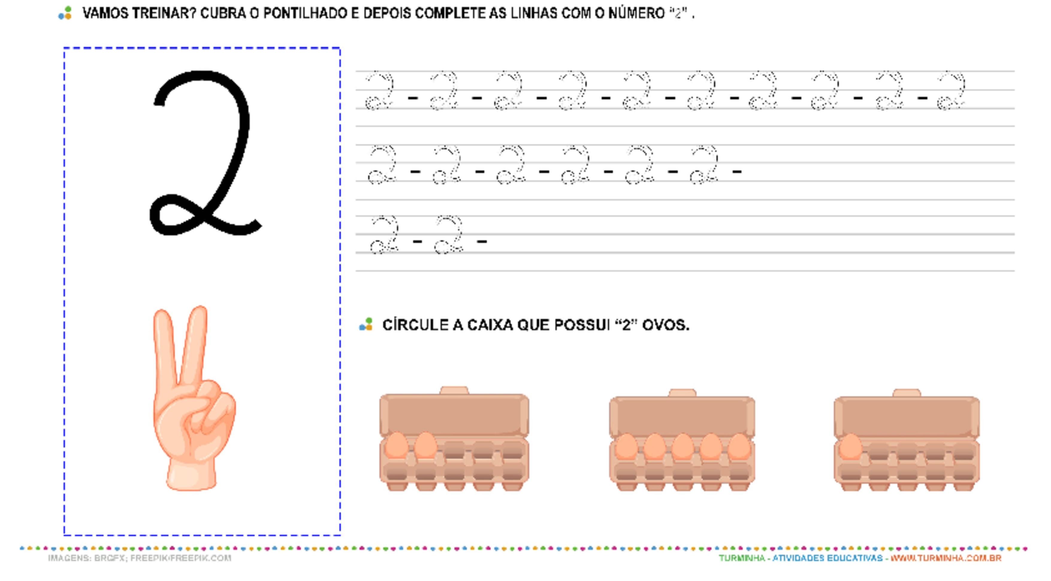 """O Número """"2"""" – Caligrafia - atividade educativa para Pré-Escola (4 e 5 anos)"""