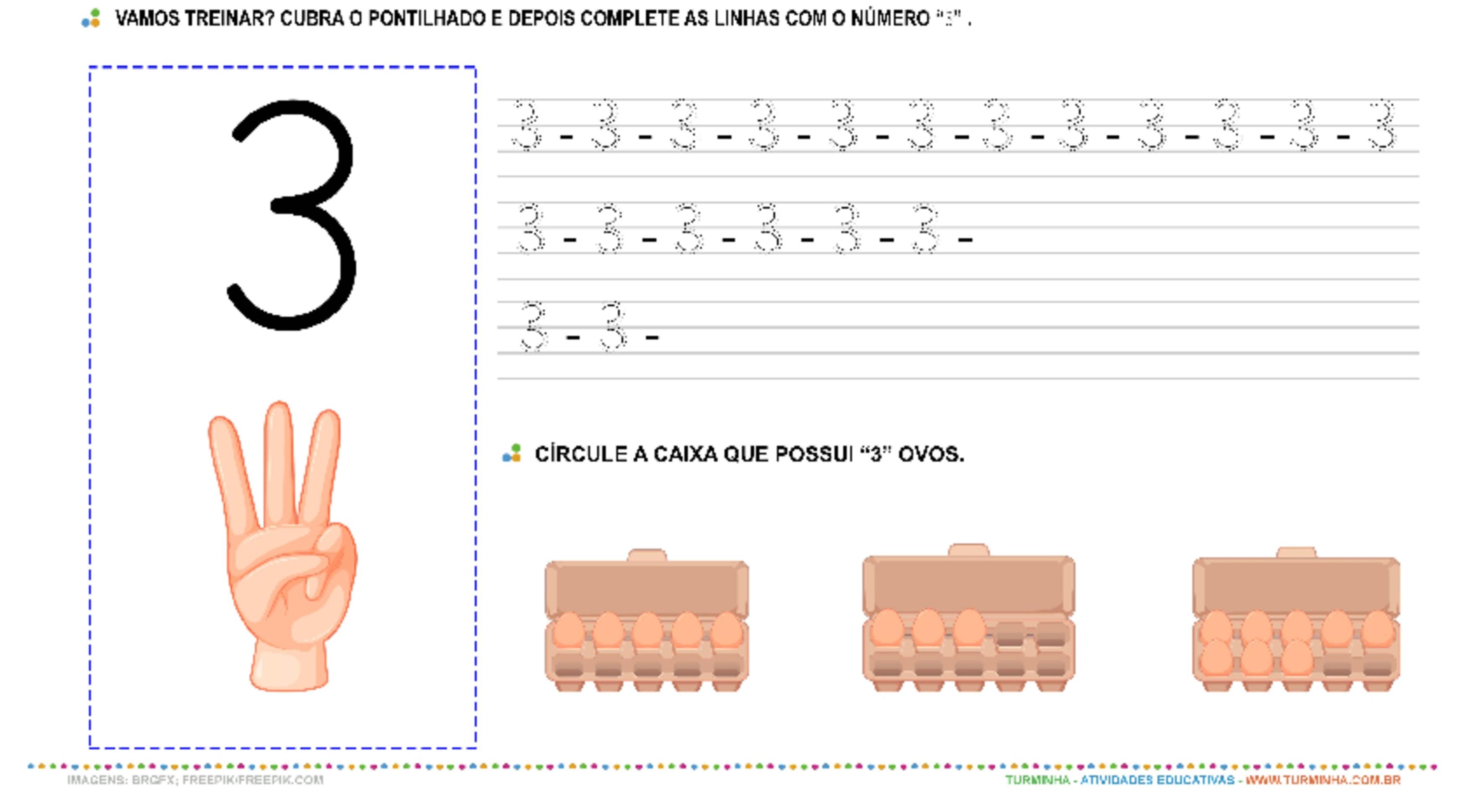 """O Número """"3"""" – Caligrafia - atividade educativa para Pré-Escola (4 e 5 anos)"""