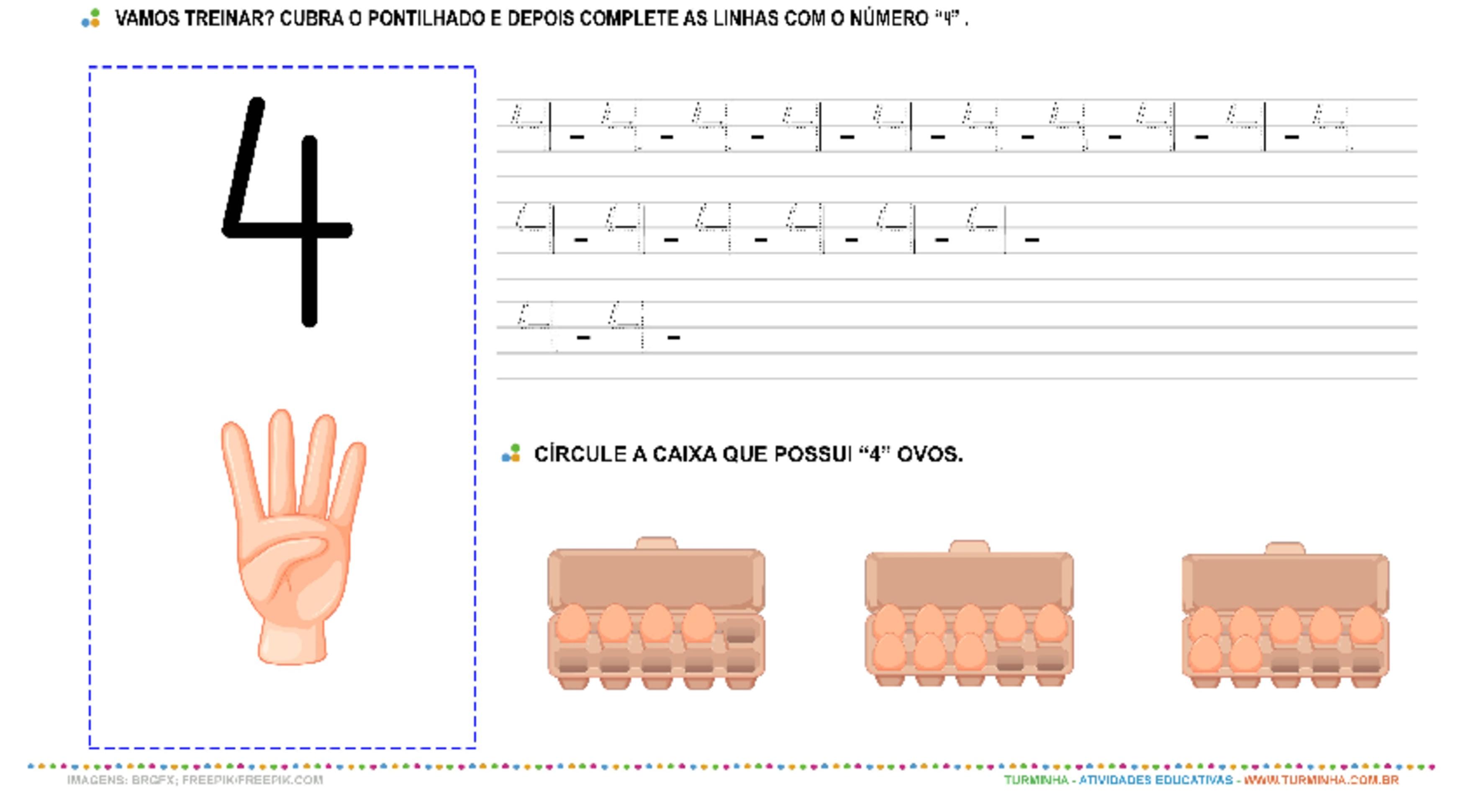 """O Número """"4"""" – Caligrafia - atividade educativa para Pré-Escola (4 e 5 anos)"""
