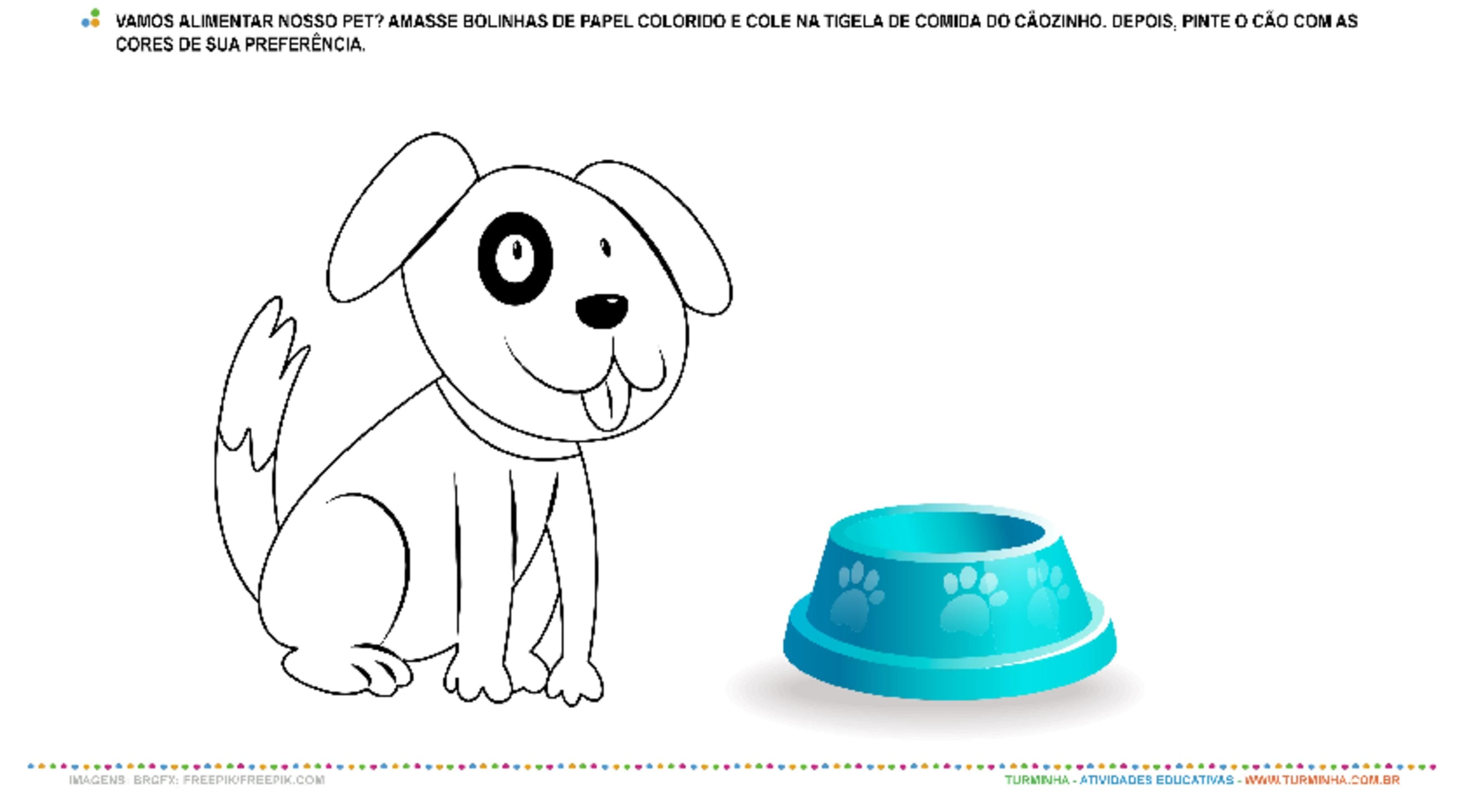 Alimentando meu animal de estimação - Colagem e Pintura - atividade educativa para Creche (0 a 3 anos)