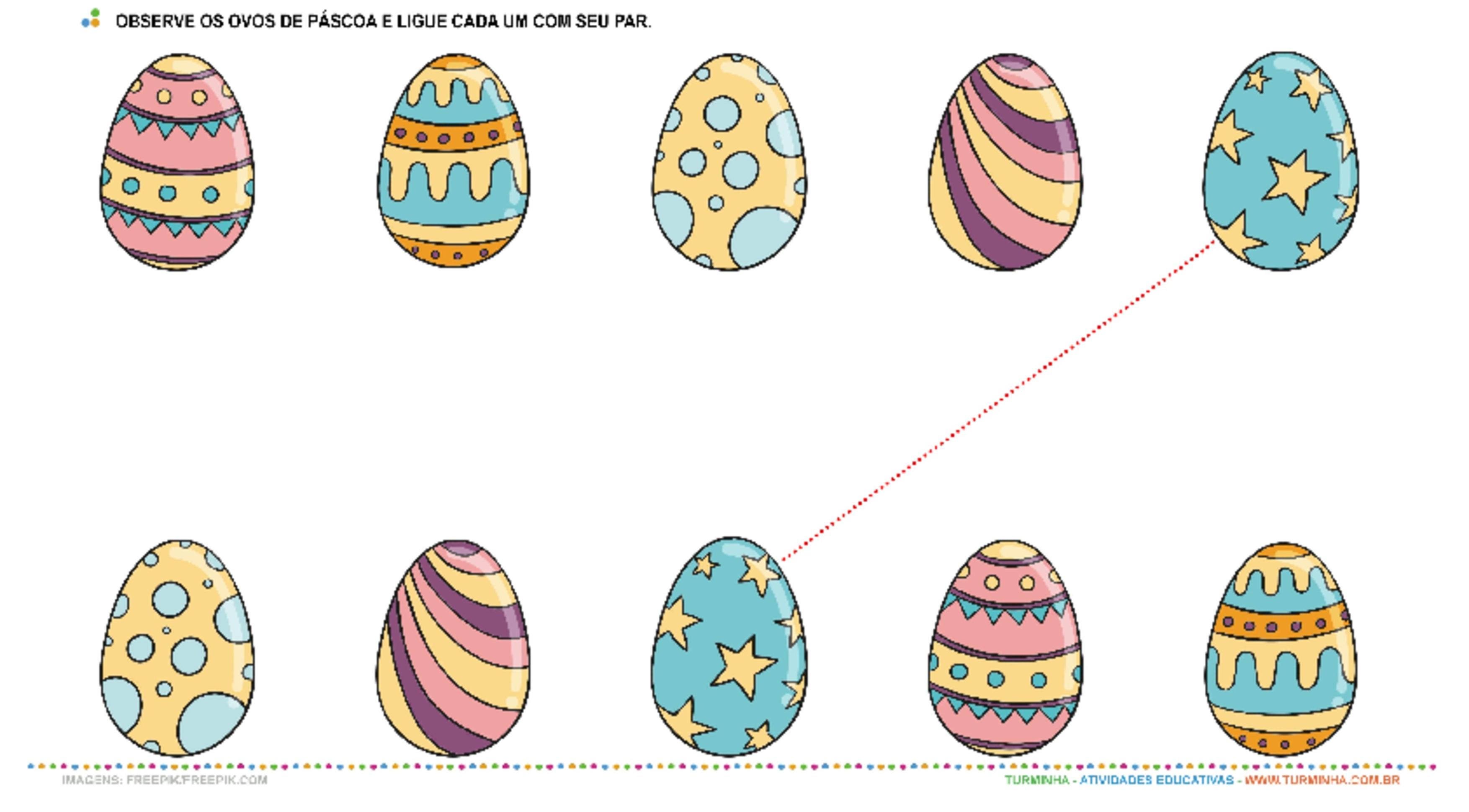 Ligando os Ovos de Páscoa - atividade educativa para Creche (0 a 3 anos)