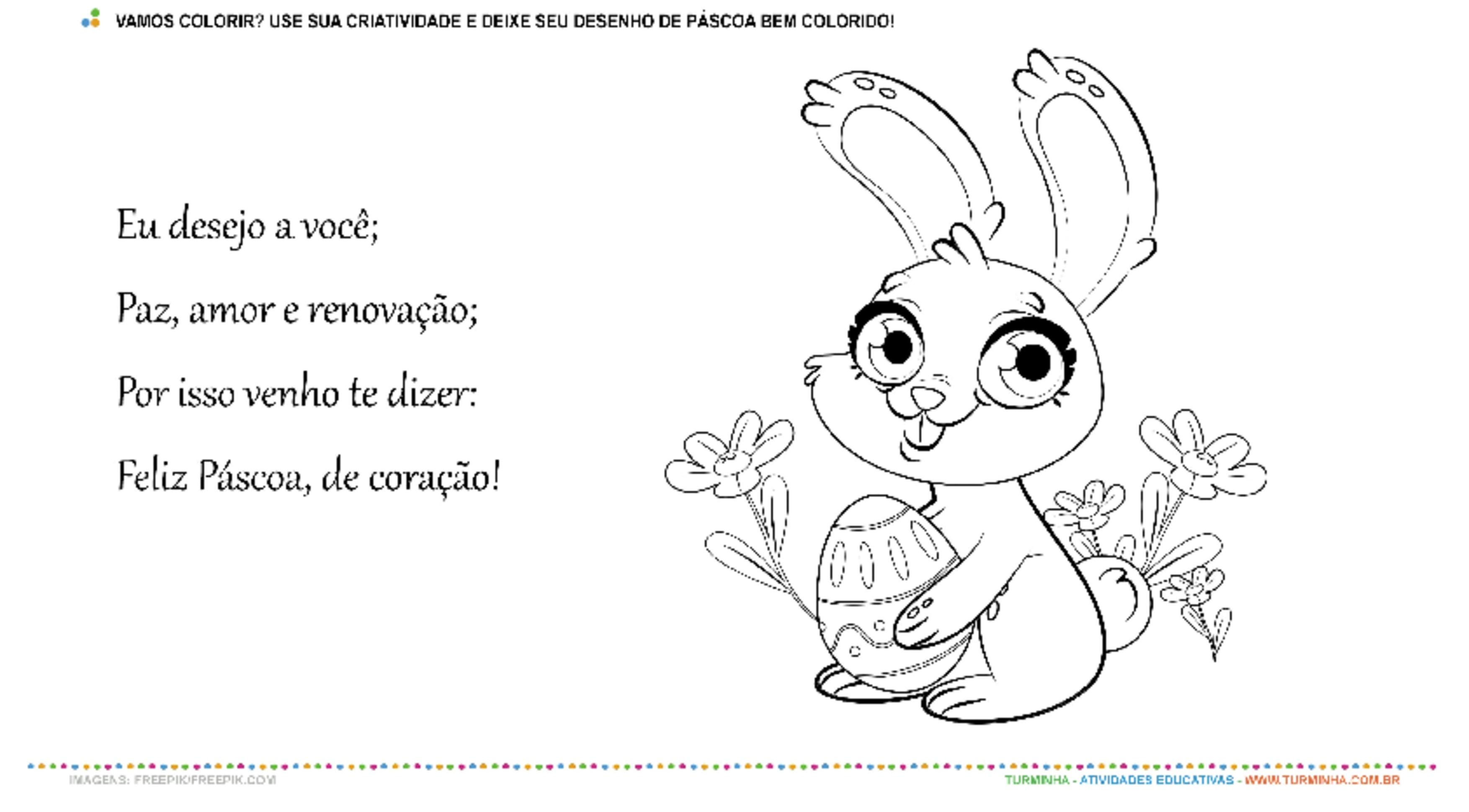 VAMOS COLORIR - PÁSCOA - atividade educativa para Pré-Escola (4 e 5 anos)