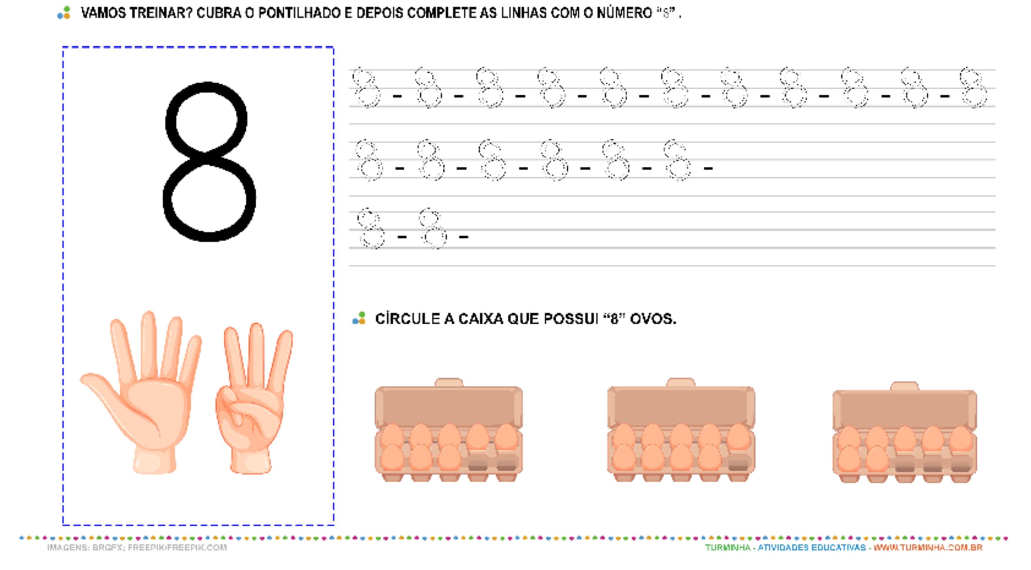 """O Número """"8"""" – Caligrafia - atividade educativa para Pré-Escola (4 e 5 anos)"""