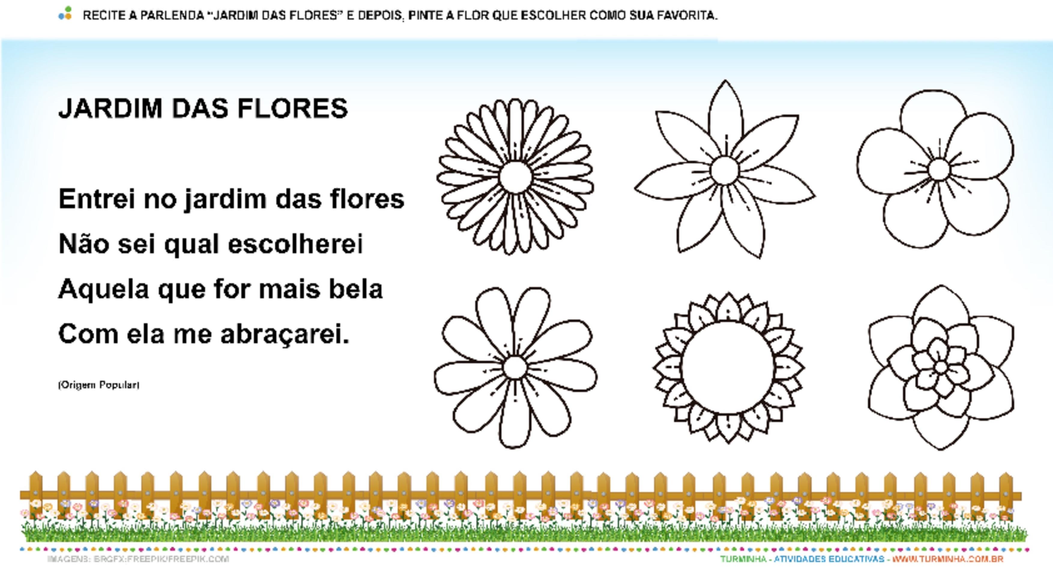 Jardim das Flores – Pintura - atividade educativa para Pré-Escola (4 e 5 anos)