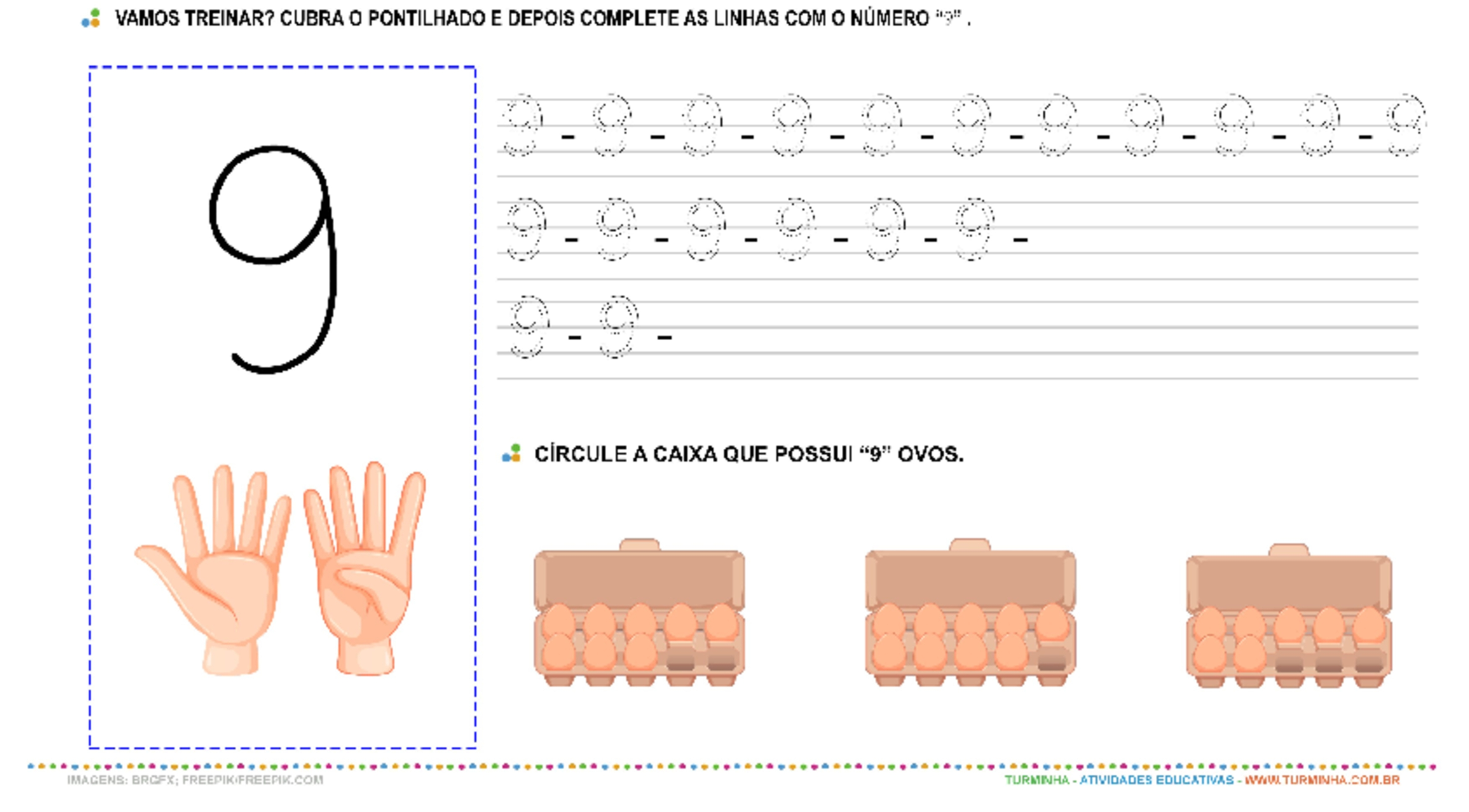 """O Número """"9"""" - Caligrafia - atividade educativa para Pré-Escola (4 e 5 anos)"""
