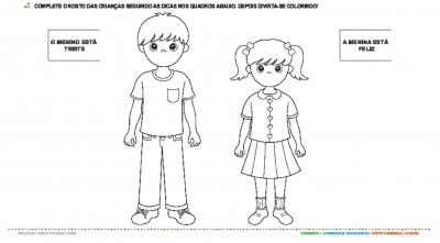 Expressões Faciais Feliz E Triste Atividade Educativa
