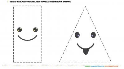 Colagem com barbante - retângulo e triângulo