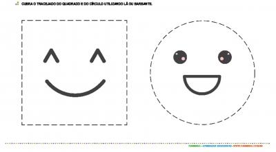 Colagem com barbante - quadrado e círculo
