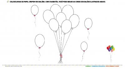 Balões com bolinhas de papel crepom