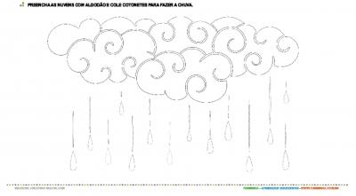 Colagem com algodão e cotonetes - nuvem