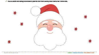 Colagem com algodão - Papai Noel