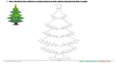 Pintura e colagem - Árvore de Natal
