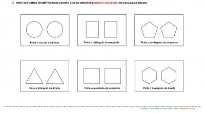 Direita e esquerda - formas geométricas