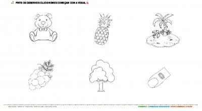 Colorindo desenhos com a vogal U