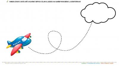 O Avião e a Nuvem - Meios de Transportes - Colagem