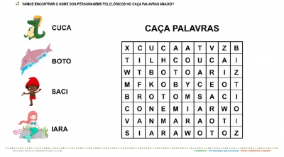 Personagens do Folclore Brasileiro - Caça Palavras