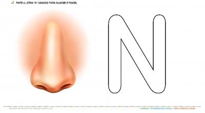"""O Nariz e a letra """"N"""" – Pintura com tinta guache"""