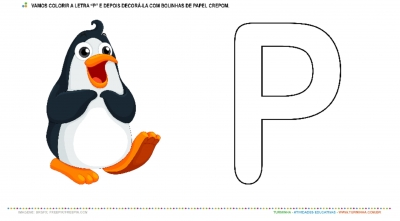 """O Pinguim e a Letra """"P"""" – Pintura e colagem"""