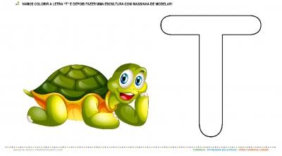 """A Tartaruga e a Letra """"T"""" – Pintura e Escultura"""
