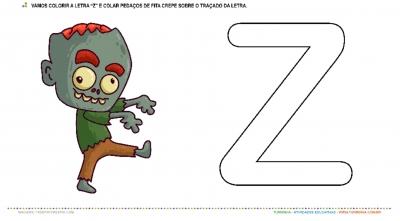 "O Zumbi e a Letra ""Z"" – Pintura e Colagem"