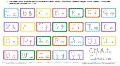 O alfabeto em Letra Cursiva – Maiúscula e Minúscula