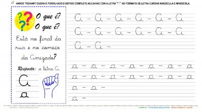 """A Letra """"A"""" Cursiva - Caligrafia"""