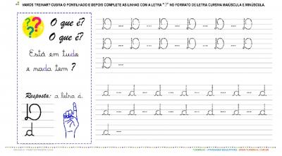 """A Letra """"D"""" Cursiva - Caligrafia"""