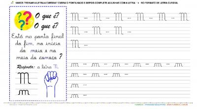 """A Letra """"M"""" Cursiva - Caligrafia"""