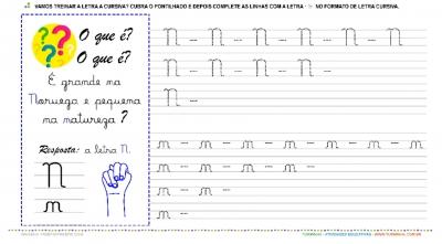 """A Letra """"N"""" Cursiva - Caligrafia"""