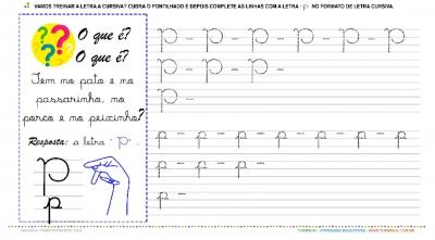 """A Letra """"P"""" Cursiva - Caligrafia"""