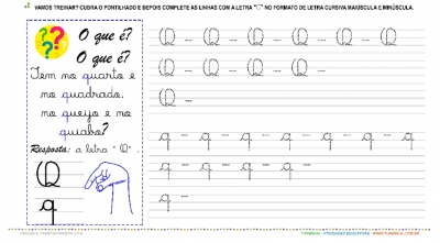 """A Letra """"Q"""" Cursiva - Caligrafia"""